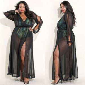 Dresses & Skirts - NEW SOLID MESH WRAP MAXI DRESS 1X 2X 3X